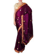 Dark Purple Embroidered Chiffon Saree - By
