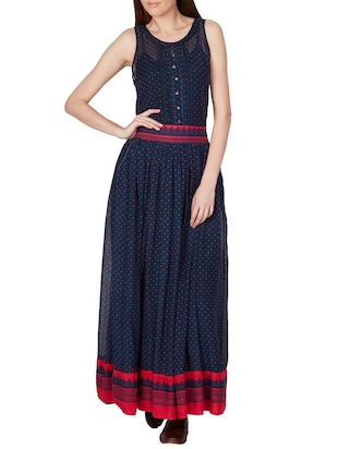 Navy blue printed maxi skirt