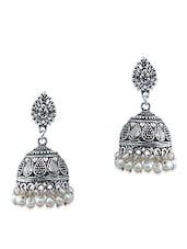 White Brass Jhumka Earring - By