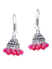 Silver, Pink, Black Brass Jhumka Earring - By