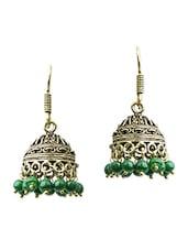 Gold, Black, Green Brass Jhumka Earring - By