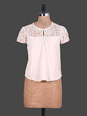 Short Sleeves Lace Yoke Georgette Top - URBAN RELIGION