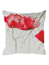 Arty Red Floral Cushion Cover - Leaf Designs