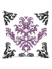 Black And Purple  Ethnic Print Cushion Cover - Leaf Designs