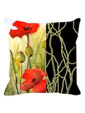Black Band And Arty Floral Cushion Cover - Leaf Designs