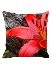 Red Hibiscus Cushion Cover - Leaf Designs