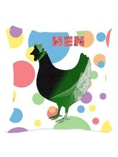 Multicolored Polka Dotted Hen Cushion Cover - Leaf Designs