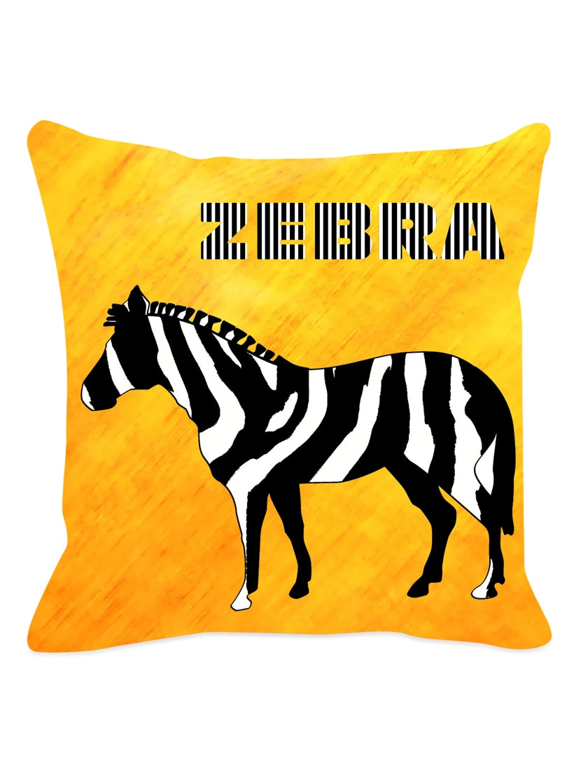 Yellow Base With  Zebra Cushion Cover - Leaf Designs