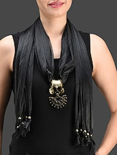 Black Pendant Embellished Jewel Scarf - Roshni Creations