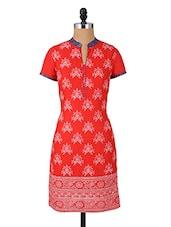 Mandarin Collar Short Sleeves Printed Cotton Kurta - Aaboli