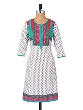 Round Neck Quarter Sleeves Cotton Kurta - Aaboli