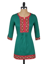 Green Button-up Sleeves Cotton Kurti - Aaboli