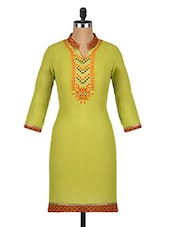 Mandarin Collar Quarter Sleeves Cotton Kurta - Aaboli
