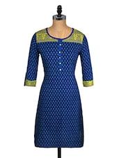 Ethnic Printed Blue Round Neck Kurta - Aaboli