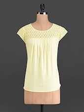 Lemon Yellow Top With Cotton Lace Yoke - French Creations