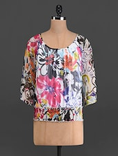 Multicoloured Floral Print Chiffon Top - French Creations