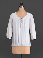 Light Grey Three-quarter Sleeved Top - French Creations