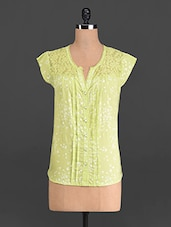 Lime Printed Cotton Top With Lace Yoke - French Creations