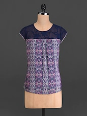 Multicoloured Printed Short-sleeved Top - French Creations