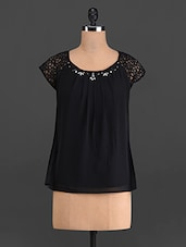 Black Crystal Embellished Top With Lace Sleeves - French Creations