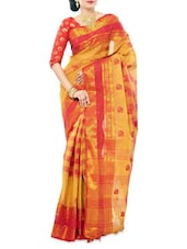 Checked Cotton Saree - Indian Saree Mandir