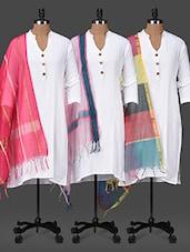 Solid, Striped & Colourblock Dupattas Set - PLUME