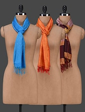 Set Of 3 Jacquard Work Poly Silk Stoles - PLUME