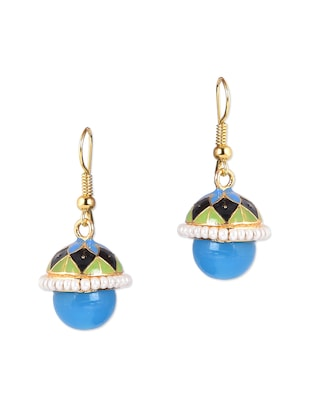 Sky-blue Bead Drop Ethnic earrings