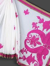 White & Pink Applique Work Art Silk Saree - Prabha Creations