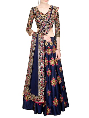 blue color, art silk embroidered lehenga material
