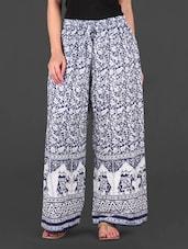 Printed White And Blue Cotton Palazzo Pants - EWA Women
