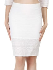 White Cotton Lace Pencil Skirt - Fuziv