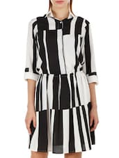 Color Block Quarter Sleeve Shirt Dress - Fuziv