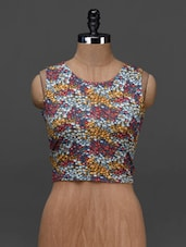 Multicolor Printed Sleeveless Crop Top - NUN