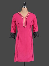 Pink V Neck Cotton Kurta - Rainbow Hues