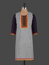 Monochrome Chevron Printed Embroidered Kurta - VI