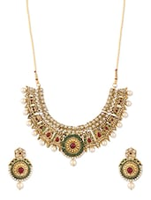 Traditional Antique Style Necklace And Earrings Set - ZAVERI PEARLS