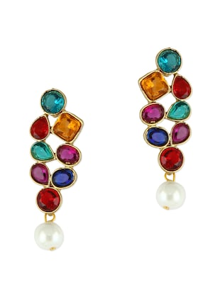 Multicoloured Stone Dangler Earrings