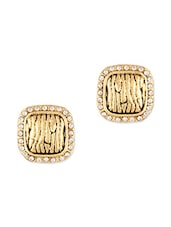 Studded Square Gold Ear Studs - ZAVERI PEARLS