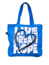 Blue Printed Canvas Tote Bag - RIGO