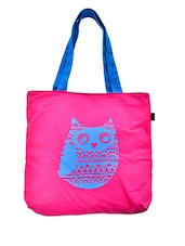 Pink Owl Printed Canvas Tote Bag - RIGO