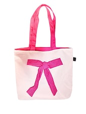 Off White Canvas Tote Bag With Bow - RIGO