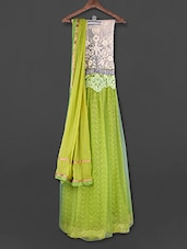 Green & White Embroidered Unstitched Suit - FABBOOM