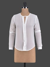 Solid White Full Sleeve Top - Golden Couture