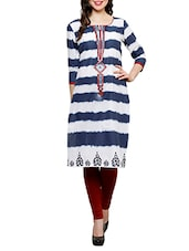 White And Navy Blue Striped Cotton Kurta - By