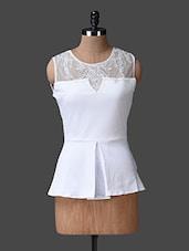 White Embroidered Net Yoke Peplum Top - Liebemode