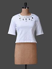 White Short Sleeves Embellished Top - Liebemode