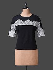 Black Lace Embellished Top - Liebemode