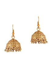 Metal Alloy Golden Jhumkas - Sixmeter Jewels