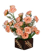 Loxia Light Orange Tropical Mini Rose Bunch In Wooden Vase Arrangement ( 8 Inch Height) - By